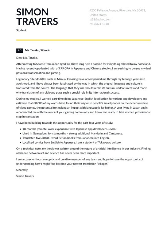 Student Cover Letter Examples Expert Tips Free Resume Io