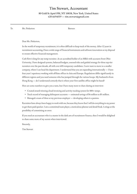 Accounting Cover Letter Examples Expert Tips Free Resume Io