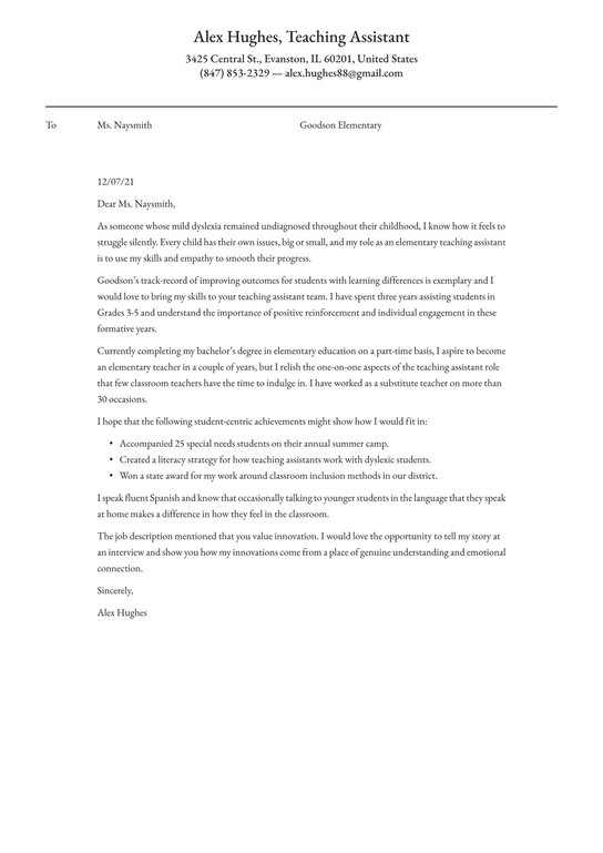 Get Incredible Teaching Assistant Cover Letter Example For Teaching Job Selections
