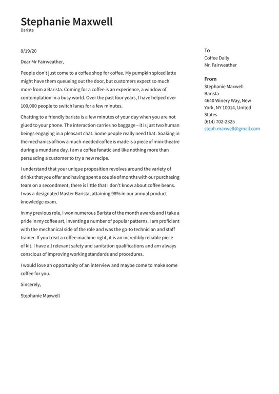 Barista Cover Letter Examples Expert Tips Free Resume Io