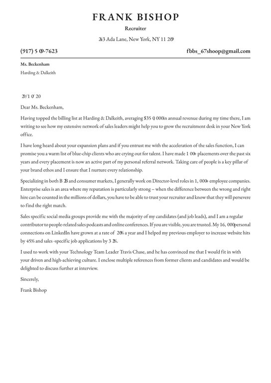 Recruiter Cover Letter Examples Expert Tips Free Resume Io