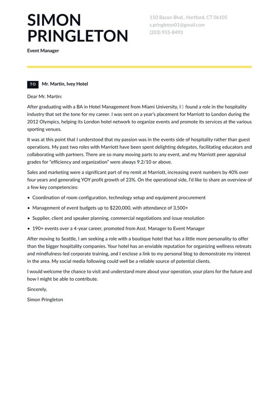 Event Manager Cover Letter Examples Expert Tips Free Resume Io