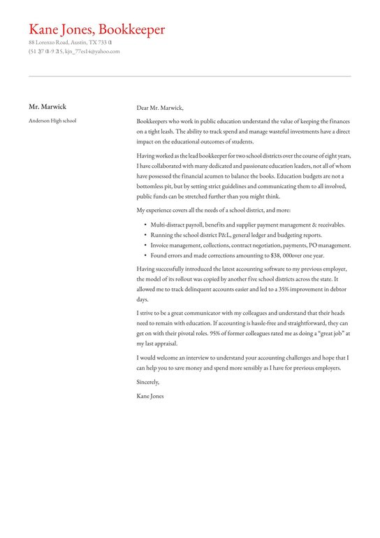Bookkeeper Cover Letter Examples Expert Tips Free Resume Io