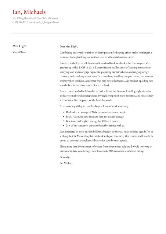 Bank Teller Cover Letter Examples Expert Tips Free Resume Io