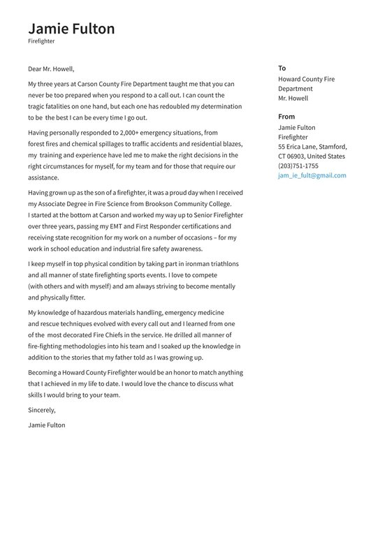 Firefighter Cover Letter Examples Expert Tips Free Resume Io
