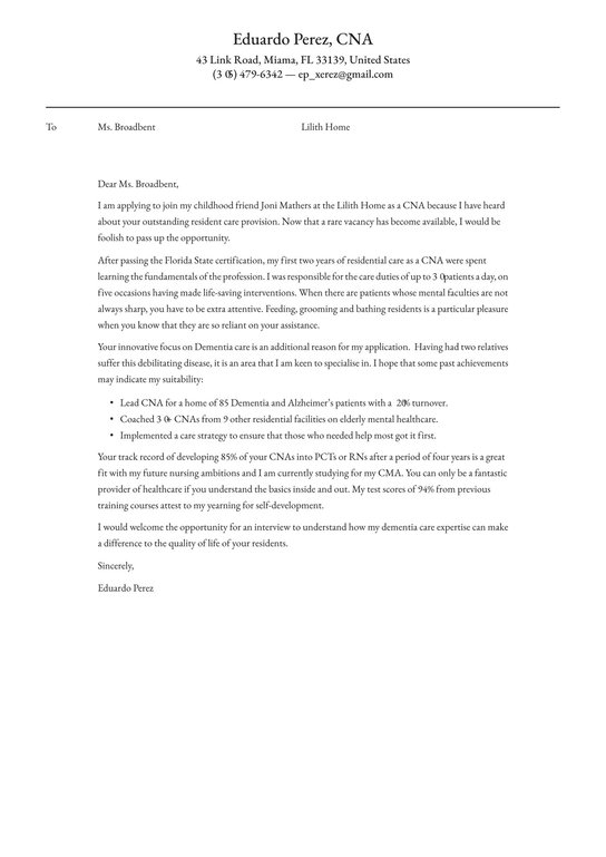 Cna Cover Letter Examples Expert Tips Free Resume Io