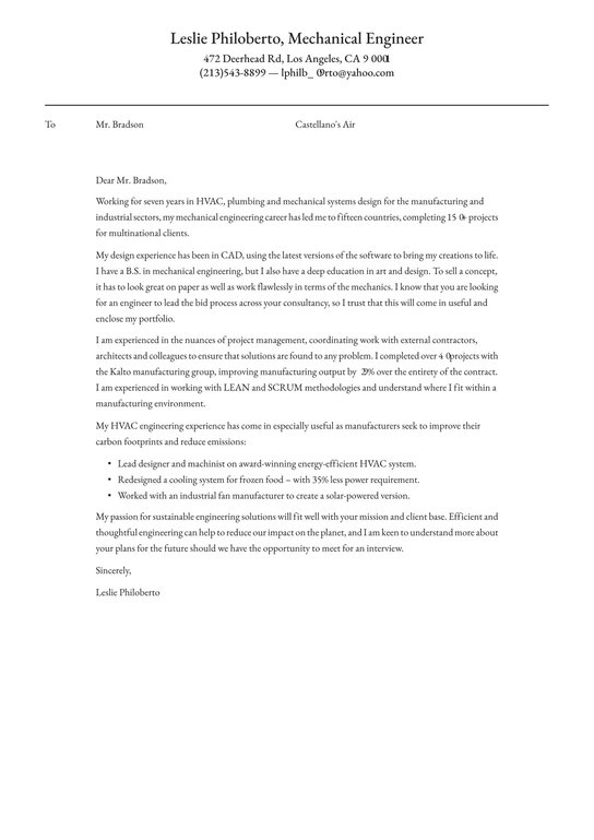 Mechanical Engineer Cover Letter Examples Expert Tips Free