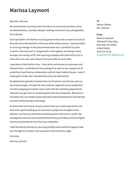 Cover Letter In Fashion Top Concept Most Excellent