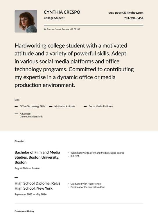 college sample student resume