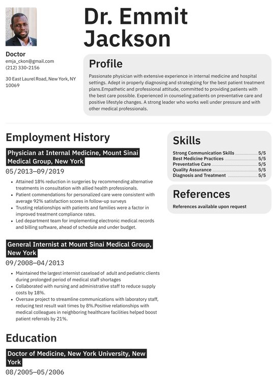 Modern CV Design Nursing Resume Custom Resume Medical Resume Design Doctor Resume Template RN Resume