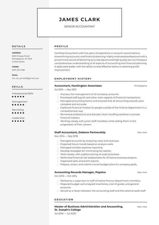 format resume accounting job