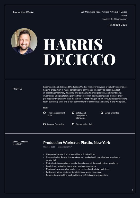 production worker resume examples  writing tips 2021
