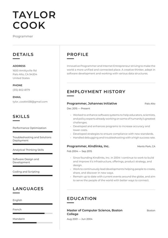Computer contact database details programmer resume view how to write a letter of recommendation academic example