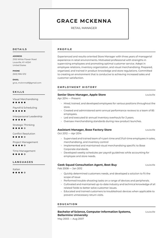 Free sample of retail manager resume cheap masters dissertation topics