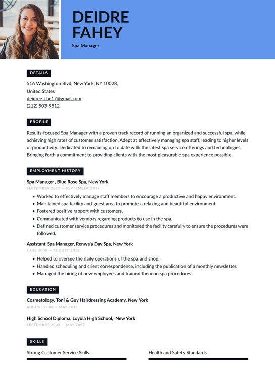 Spa Manager Resume Examples Writing