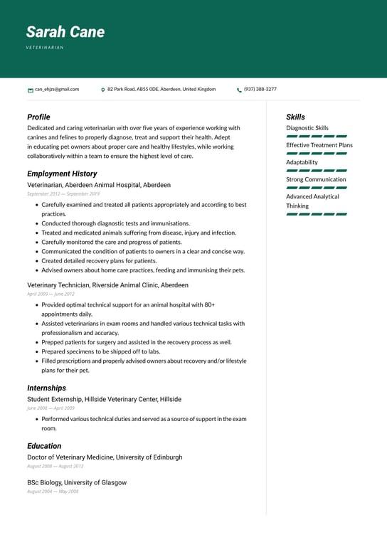 free resume sample for vet
