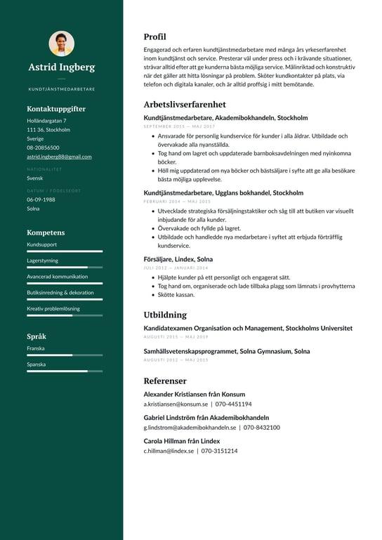 Kundtjanstrepresentant Cv Exempel Skrivtips 2021 Gratis Guide