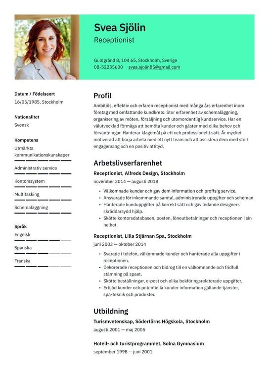 Receptionist Cv Exempel Skrivtips 2021 Gratis Guide Cvkungen Se
