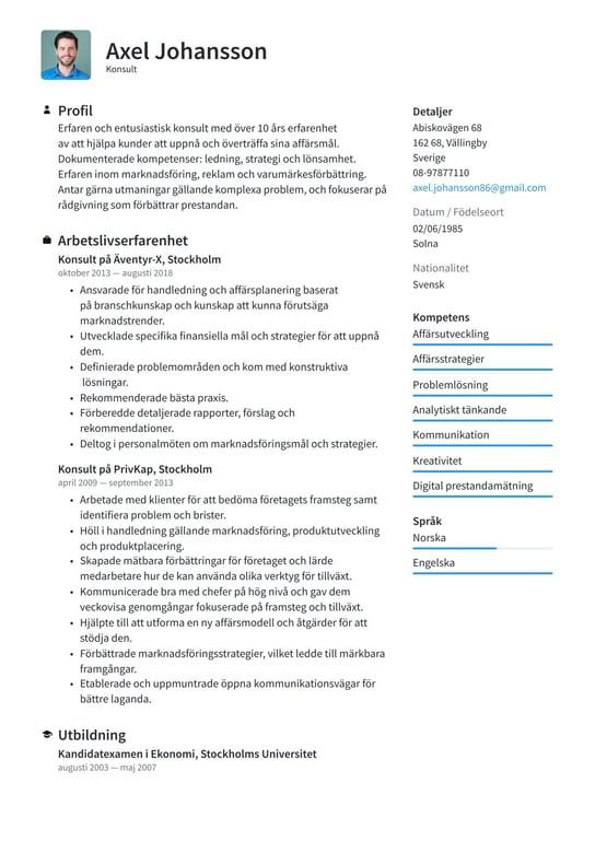Konsult Cv Exempel Skrivtips 2021 Gratis Guide Cvkungen Se