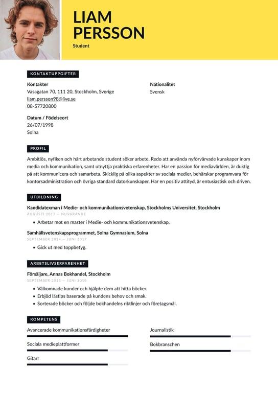 Student Cv Exempel Skrivtips 2021 Gratis Guide Cvkungen Se