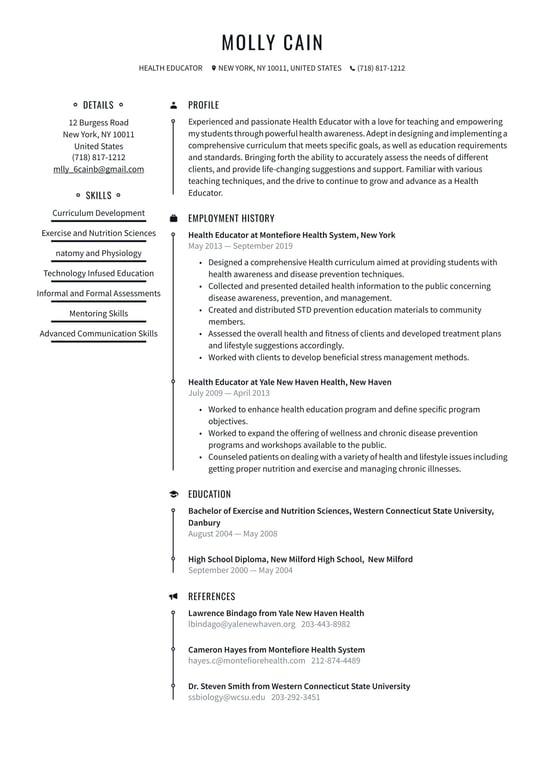 Resume health educator esl homework proofreading sites ca