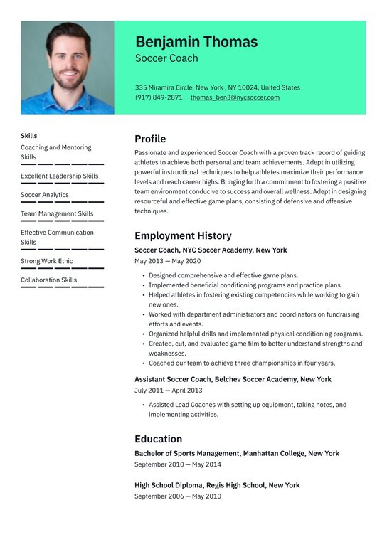 Resume for soccer coach thesis sans free download