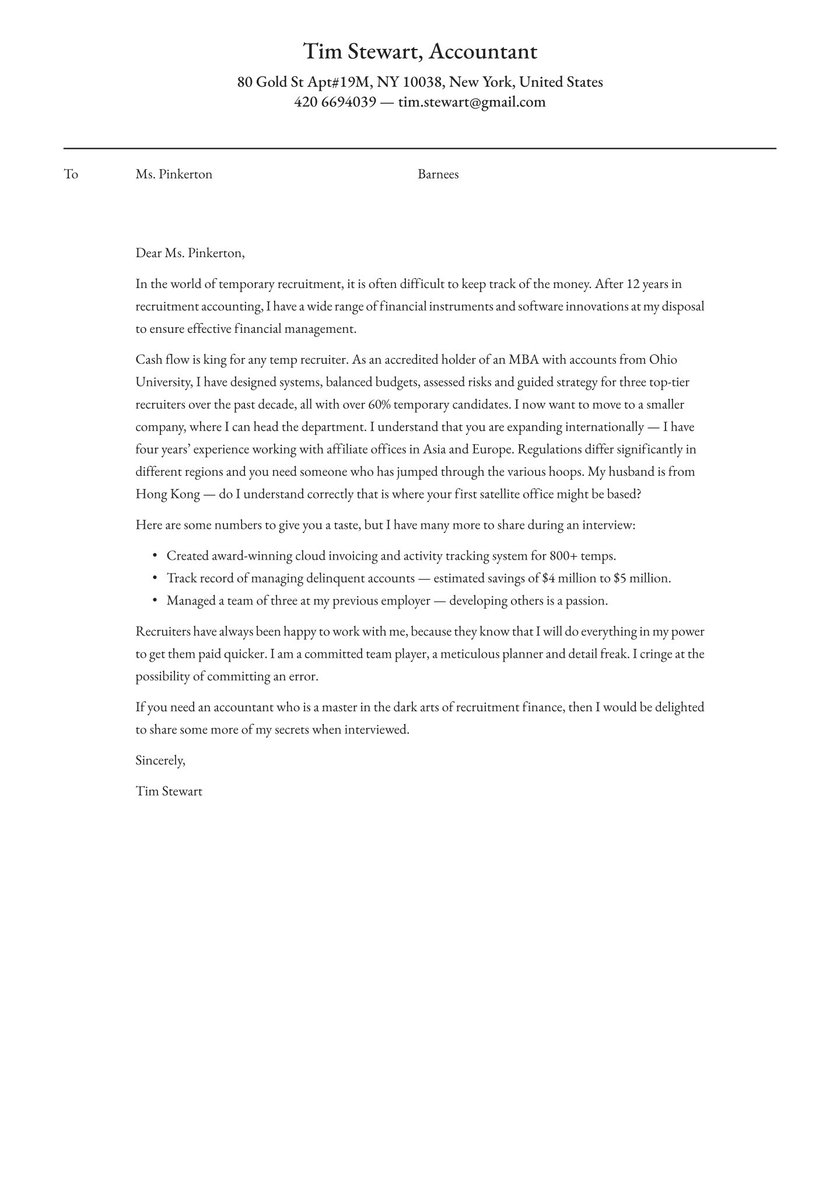 22+ Wonderful Cover Letter Accountant Position  Collections