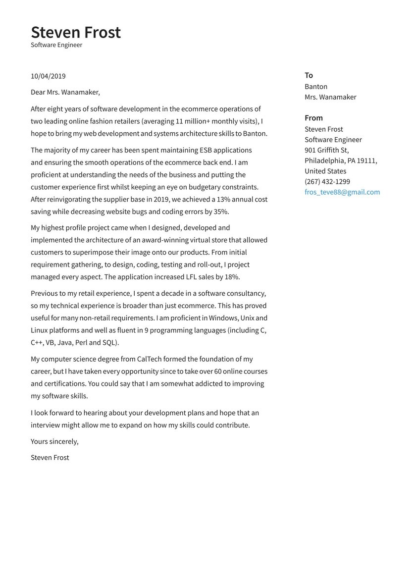 Software Engineer Cover Letter Examples