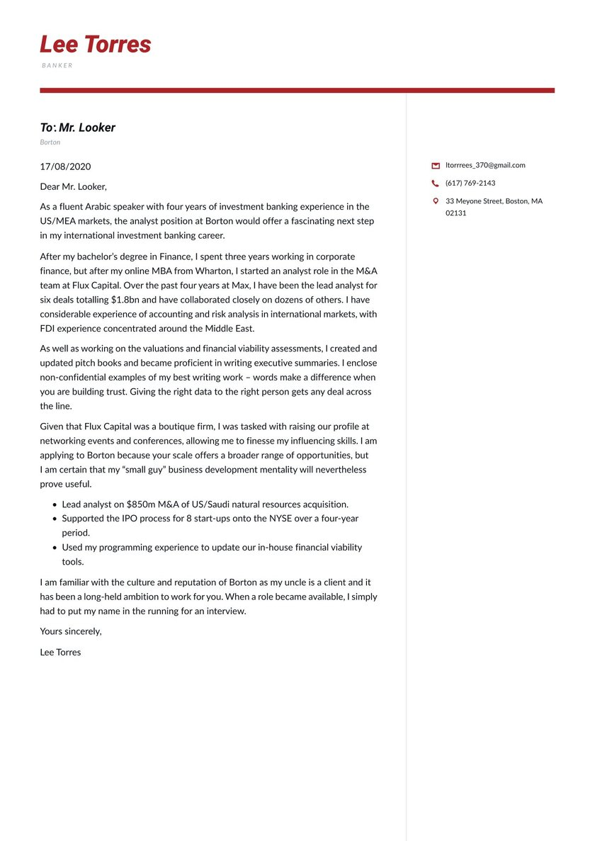 Banking Cover Letter Examples Expert Tips Free Resume Io