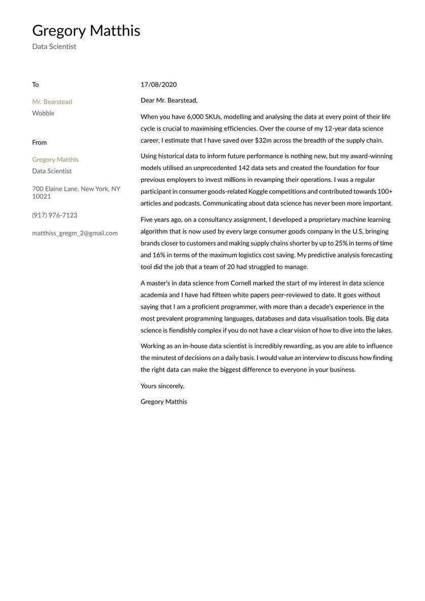 Data Scientist Cover Letter Examples Expert Tips Free Resume Io