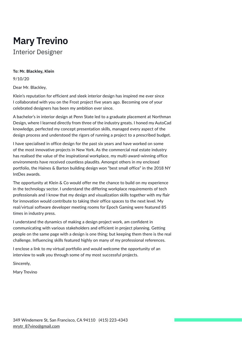 Interior Designer Cover Letter Samples No Experience Topmost Display Popular