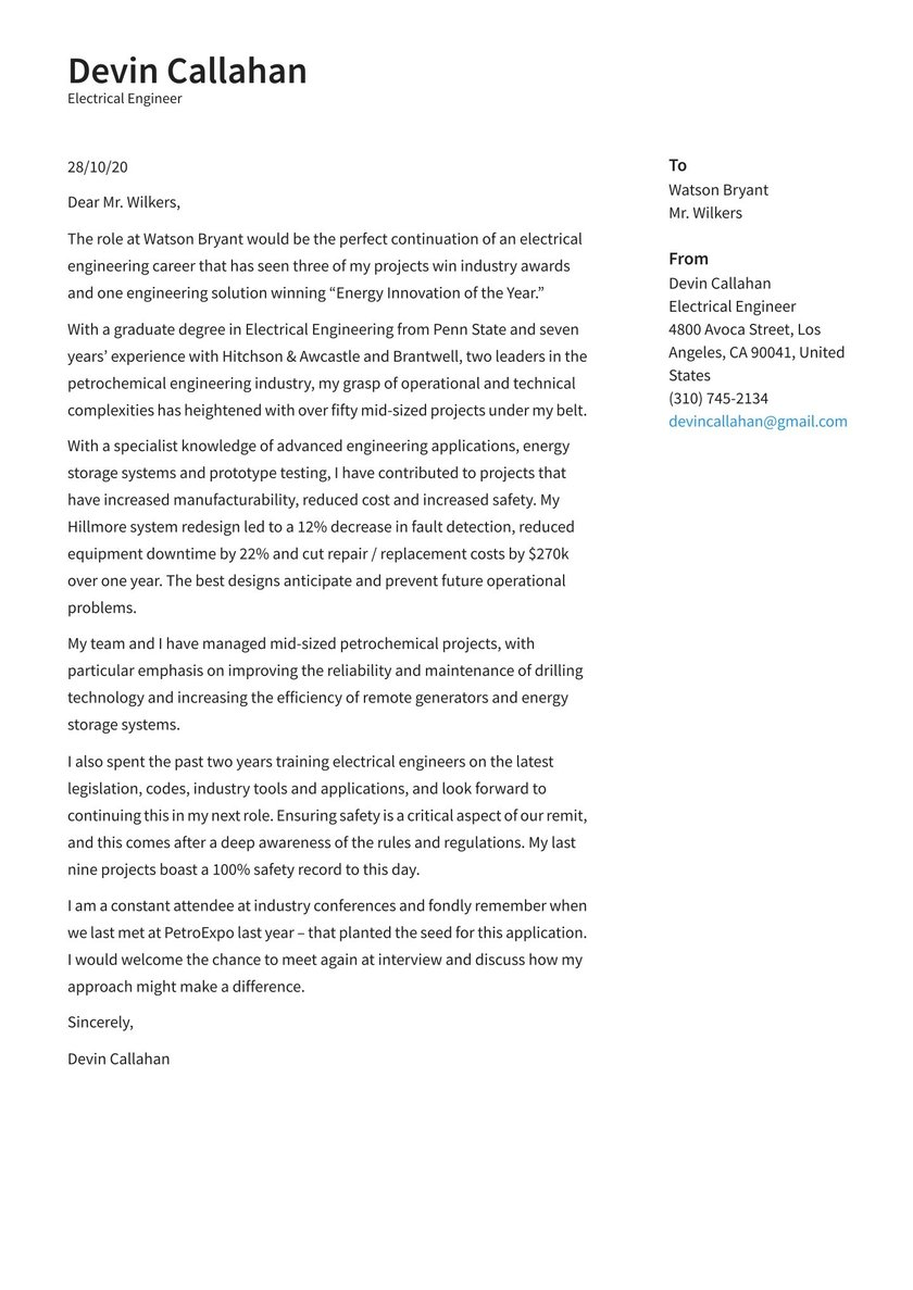 Electrical Engineer Cover Letter Examples Expert Tips Free