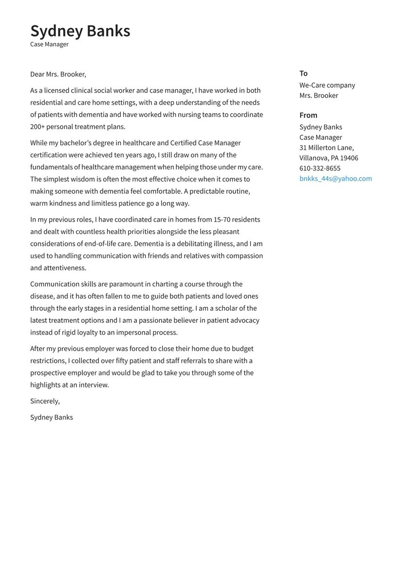 Case Manager Cover Letter Examples Expert Tips Free Resume Io