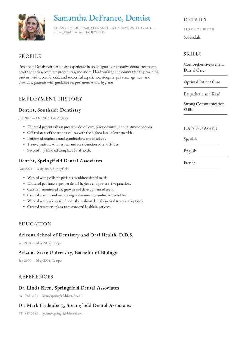 Dentist skills resume assistant treasurer resume
