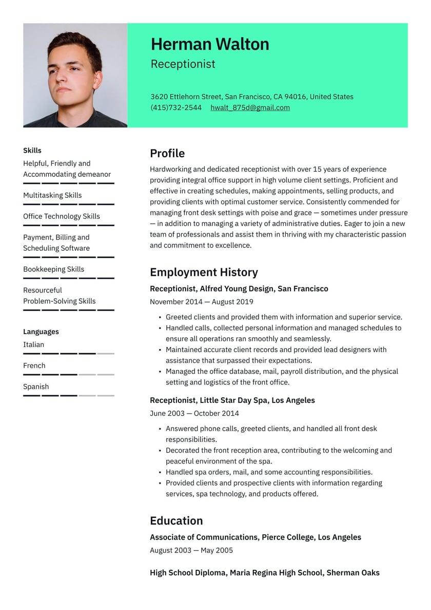Receptionist skills resume context chapter dissertation