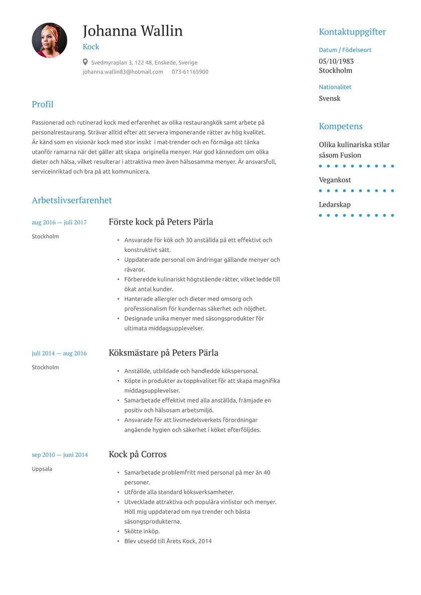 Kock Cv Exempel Skrivtips 2021 Gratis Guide Cvkungen Se